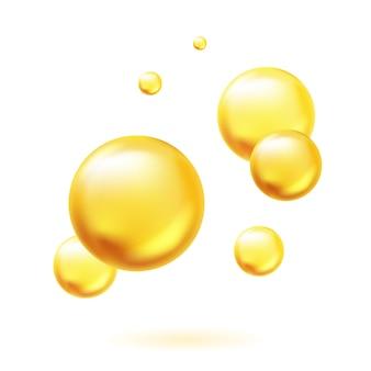 Bolhas de óleo dourado