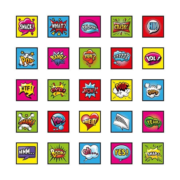 Bolhas de pop art detalhadas de símbolos de estilo cenografia de quadrinhos de expressão retro