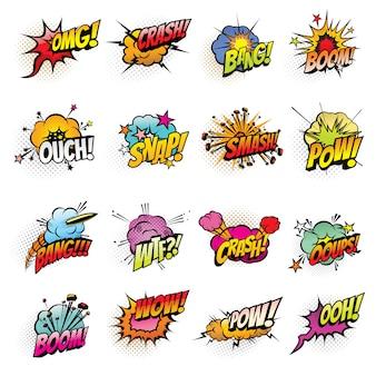 Bolhas de quadrinhos com nuvens de efeitos de discurso e som