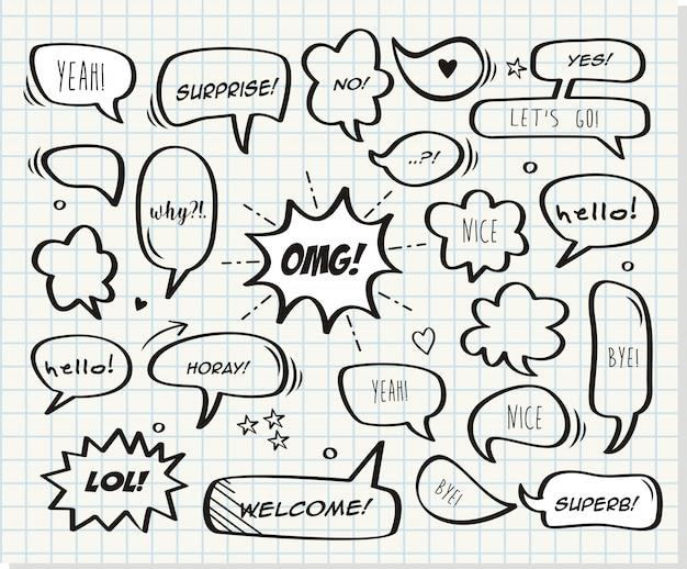 Bolhas de quadrinhos retrô e elementos com papel