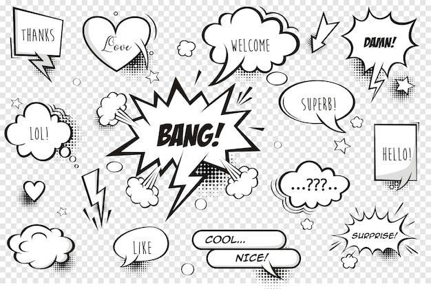 Bolhas de quadrinhos retrô e elementos com sombras de meio-tom preto