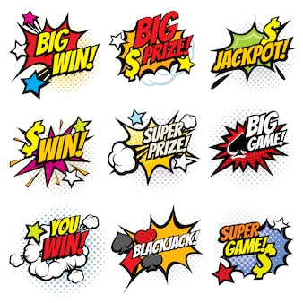 Bolhas de quadrinhos vintage pop art com jogo vencedor vector conjunto de palavras
