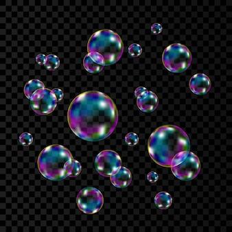 Bolhas de sabão coloridas transparentes realistas com o reflexo do arco-íris isolado