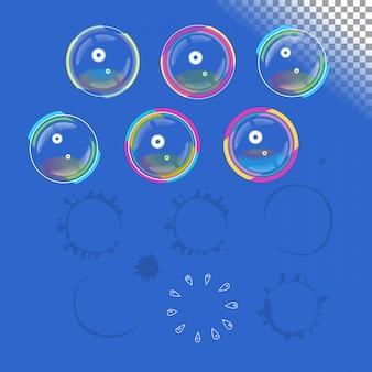 Bolhas de sabão com transparência