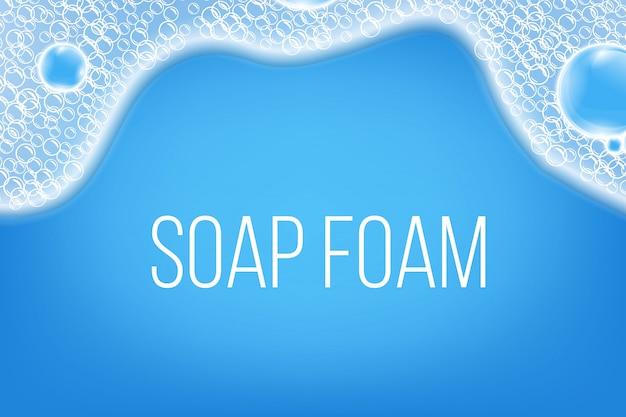 Bolhas de sabão de ar de água, espuma de shampoo.