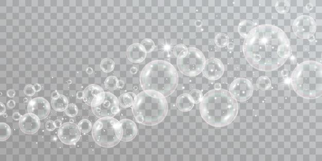 Bolhas de sabão de ar em um fundo transparente ilustração em vetor de lâmpadas