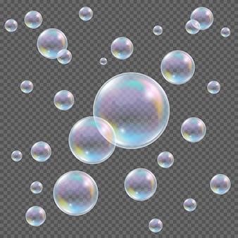 Bolhas de sabão no fundo transparente