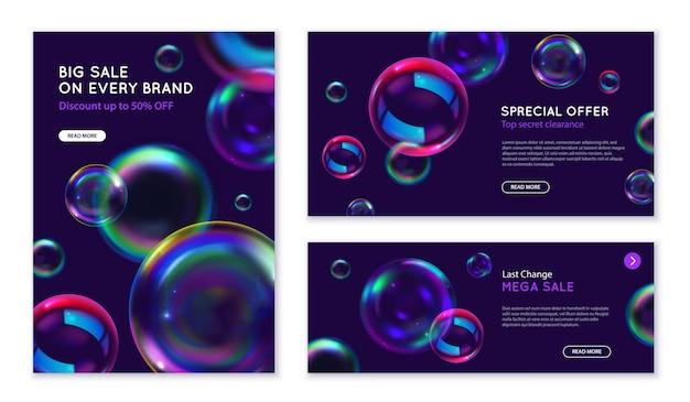 Bolhas de sabão para marketing de modelo de banners realistas com símbolos de oferta especial isolados