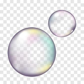Bolhas de sabão realista de vetor na transparente