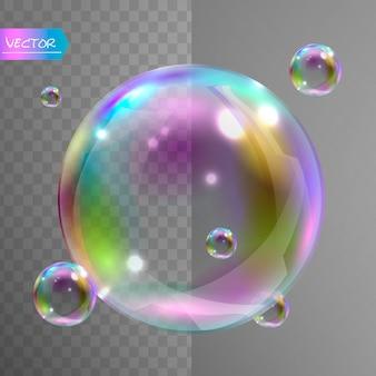 Bolhas de sabão realistas com reflexão do arco-íris.
