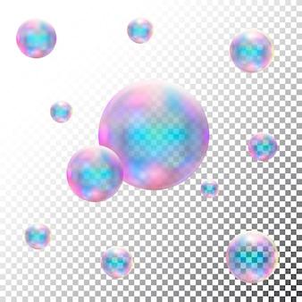 Bolhas de sabão realistas transparentes. vetor isolado