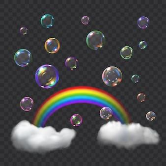 Bolhas de sabão transparentes multicoloridas com brilhos, arco-íris e nuvens. transparência apenas em formato vetorial. pode ser usado com qualquer fundo