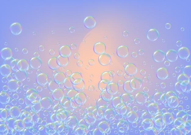 Bolhas de shampoo em fundo gradiente