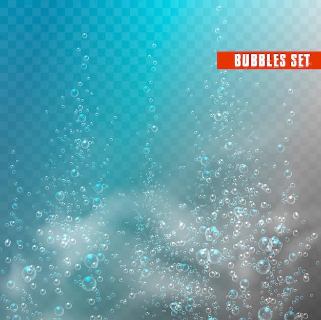 Bolhas debaixo d'água.