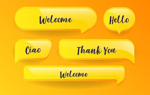 Bolhas do discurso amarelo conjunto com mensagens