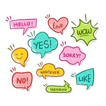 Bolhas do discurso balão colorido conjunto com mensagens curtas