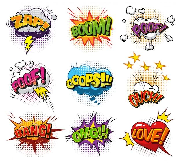 Bolhas do discurso brilhante em quadrinhos conjunto com nuvens de formulações coloridas e efeitos de humor de meio-tom