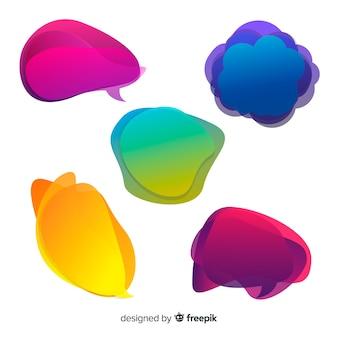 Bolhas do discurso coloridas e gradiente
