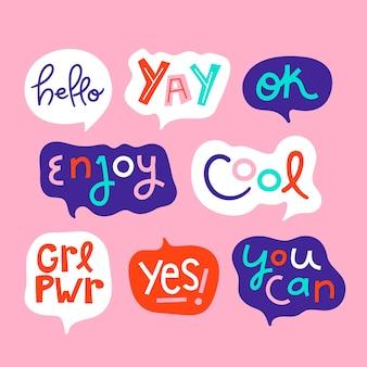 Bolhas do discurso colorido com coleção de diferentes expressões
