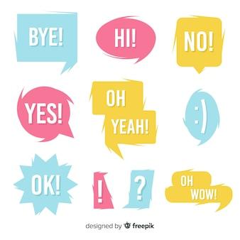 Bolhas do discurso colorido com pacote de expressões diferentes