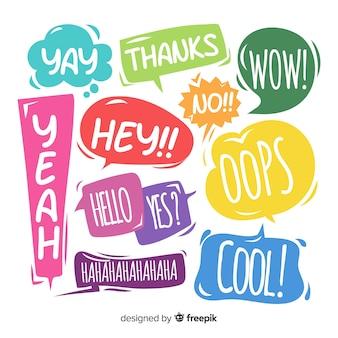 Bolhas do discurso colorido com variedade de expressões