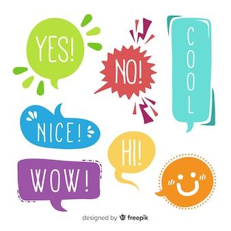 Bolhas do discurso colorido design plano com expressões diferentes