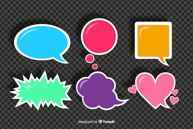 Bolhas do discurso colorido diferente de design plano