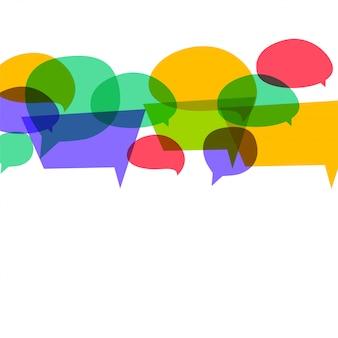 Bolhas do discurso colorido em cores diferentes