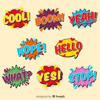 Bolhas do discurso colorido em quadrinhos