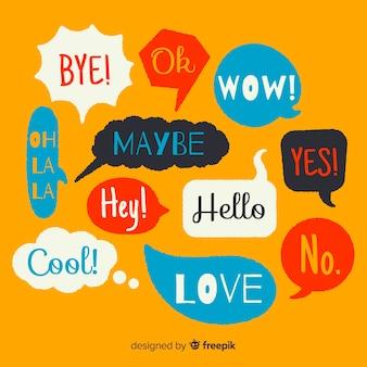 Bolhas do discurso colorido mão desenhada com diferentes expressões