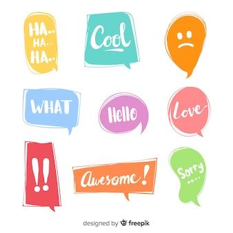 Bolhas do discurso colorido para o diálogo