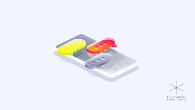 Bolhas do discurso colorido sobre o telefone móvel.