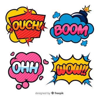 Bolhas do discurso coloridos em quadrinhos projetado