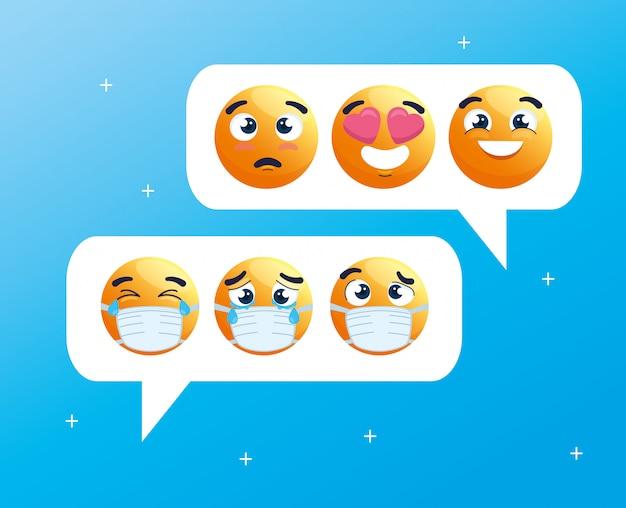 Bolhas do discurso com conjunto de emoji chorando usando máscaras médicas, mídia social de bate-papo, ícones para surto de coronavírus