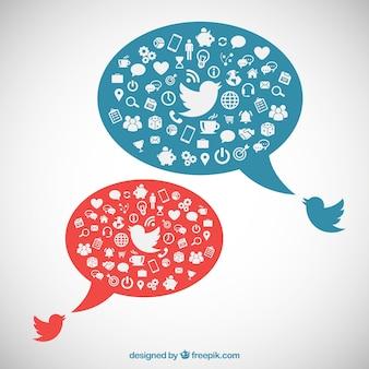 Bolhas do discurso com ícones sociais dos media