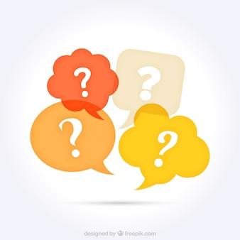 Bolhas do discurso com pontos de interrogação