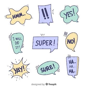 Bolhas do discurso criativo com diferentes expressões