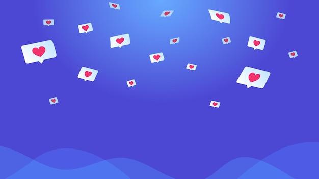 Bolhas do discurso da mídia social com corações. ilustração em vetor conceito de voar em nuvens, símbolos de corações em bolhas para mídias sociais e aplicativo de namoro. fundo gradiente para promoção e redes