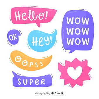 Bolhas do discurso de cores brilhantes com diferentes expressões