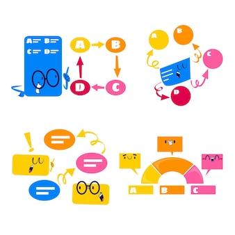 Bolhas do discurso de desenho animado retrô, setas e adesivos de elementos de infográfico