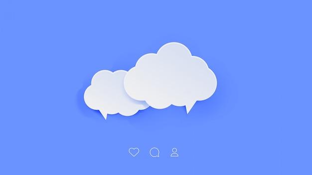 Bolhas do discurso de estilo de papel de nuvem.
