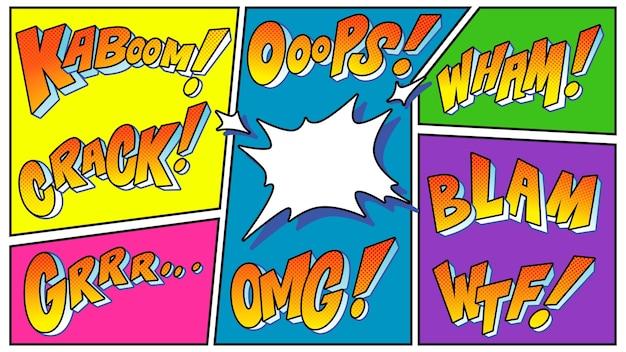 Bolhas do discurso de explosões de efeito de som de quadrinhos