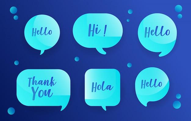 Bolhas do discurso de néon definido no design azul com mensagens