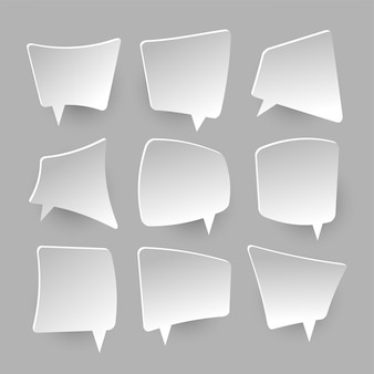 Bolhas do discurso de papel. balões de pensamento em branco branco, gritando caixa