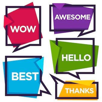 Bolhas do discurso de papel com palavras emocionais obrigado, olá, uau, melhor, incrível