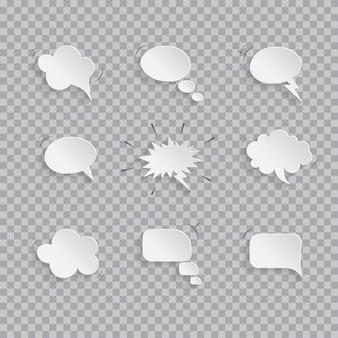 Bolhas do discurso de papel isoladas em fundo transparente.