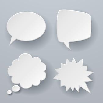 Bolhas do discurso de papel. origami branco 3d nuvens retrô pensamento bate-papo ou diálogo texto mensagem balão conceito