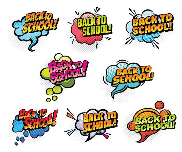 Bolhas do discurso de quadrinhos de volta às aulas
