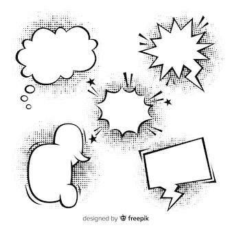 Bolhas do discurso de quadrinhos preto e branco com sombras