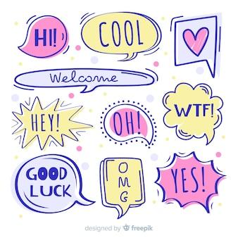 Bolhas do discurso desenhada de mão com diferentes expressões